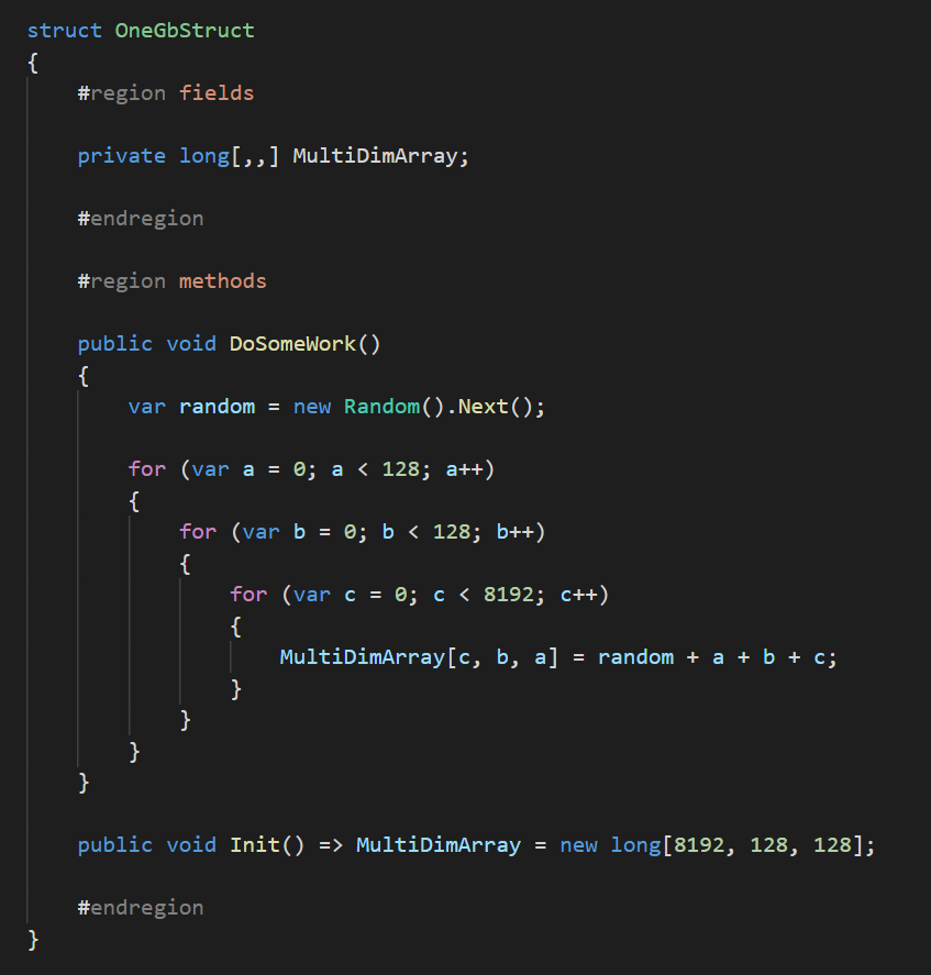 C # code of a structure that reads and writes data with a total size of 1 GB
