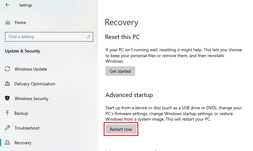 Recovery settings: Restart Now