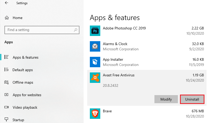 Uninstall application in Apps&features menu