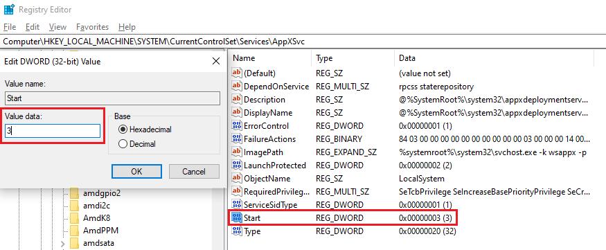 AppXSvc file - start value