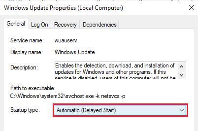 Windows Update Properties - Delayed Start