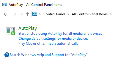 AutoPlay in Control Panel