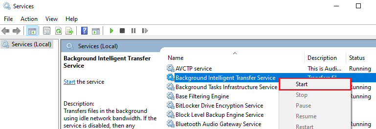 Background Intelligent Transfer Service Settings