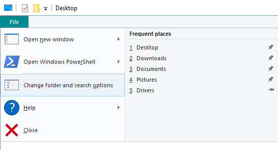 Change your folder and search options