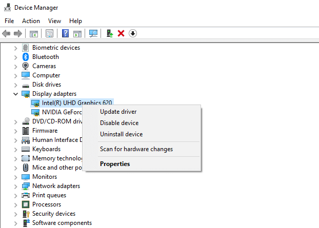 Check Device Manager for errors
