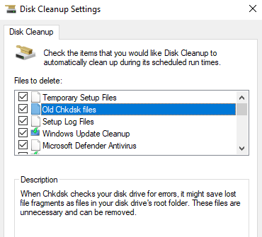 Disk Cleanup Settings to clean hard drive