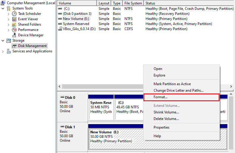 Format volume or create a new one on your disk