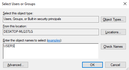 Add Users or Groups - Security options