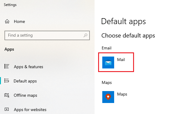 Set Microsoft Outlook as default for email