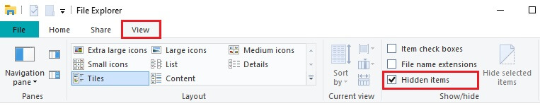 Hide items File explorer