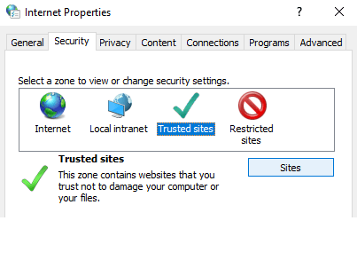 Add trusted sites