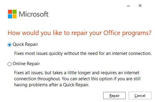 Repair Microsoft Office