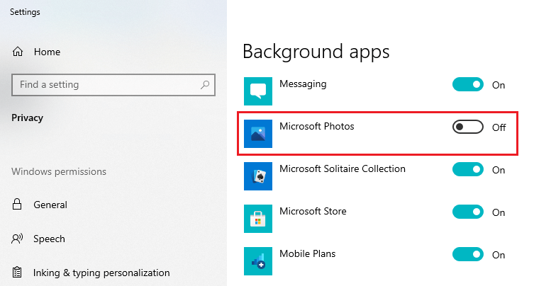 Microsoft Photos running in the background - switch off