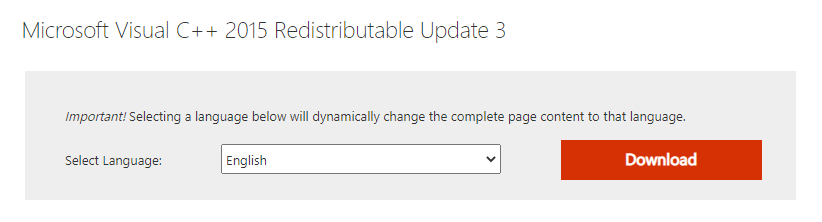 Microsoft Visual C++ 2015 Redistributable Update 3