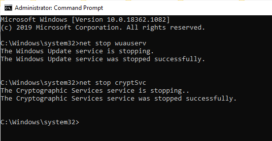 net stop cryptSvc command
