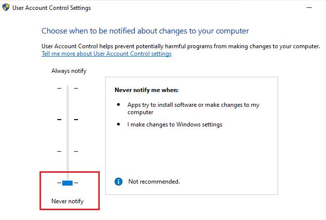 Never notify - User control settings settings