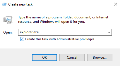 Create a new task: explorer.exe