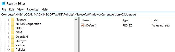 OSUpgrade registry command