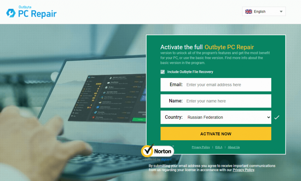 Outbyte PC Repair Landing Page