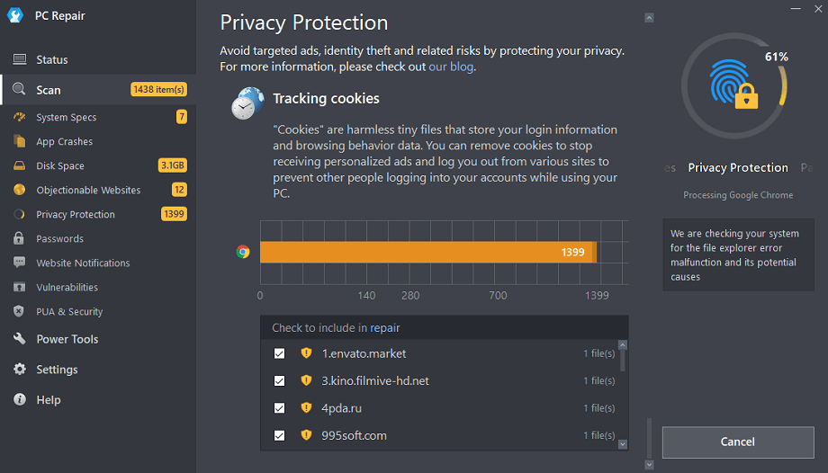Outbyte PC Repair Privacy Scan
