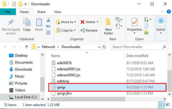 Delete any file that begins with Qmgr