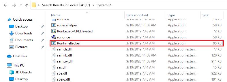 Runtime Broker location Windows 10