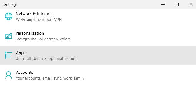 apps settings