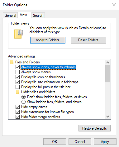 Folder options: always show icons, never thumbnails.