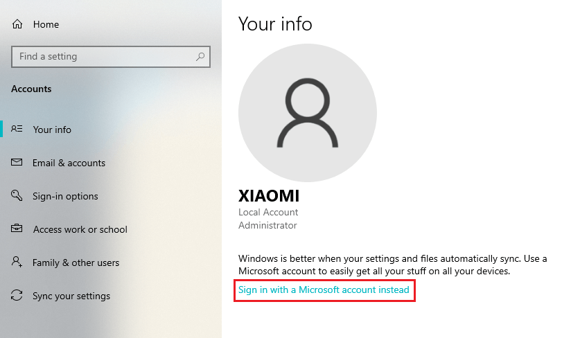 Sign in with Microsoft account instead