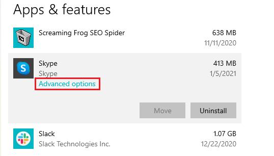 Skype advanced options