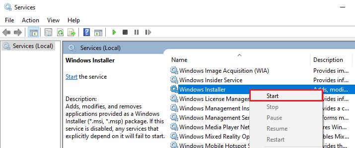 Windows Installer start