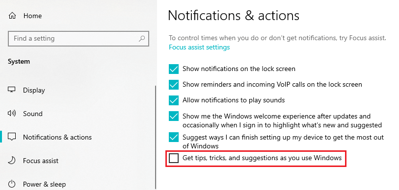 Turn off tips and notifications