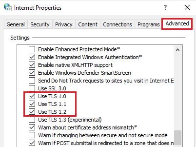 Check TLS 1.0, TLS 1.1, and TLS 1.2