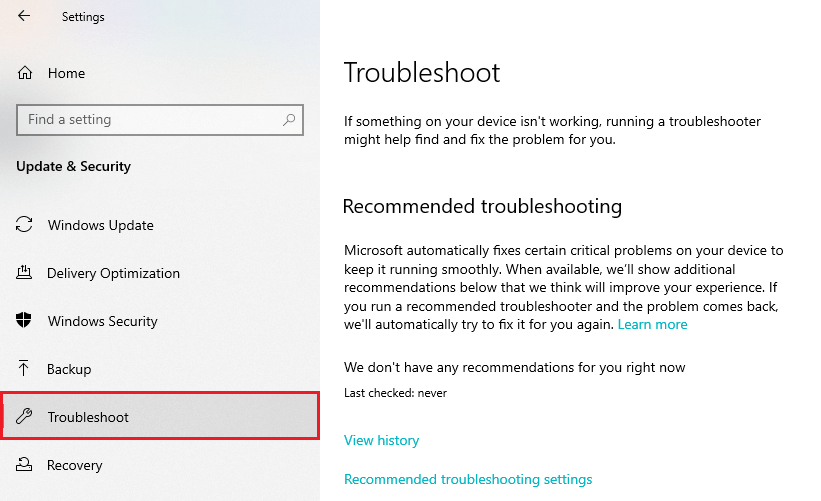 Windows Update&Security: Troubleshoot