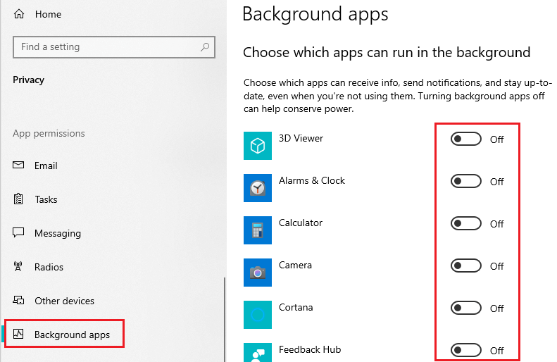 Disable Background Apps in Windows Settings
