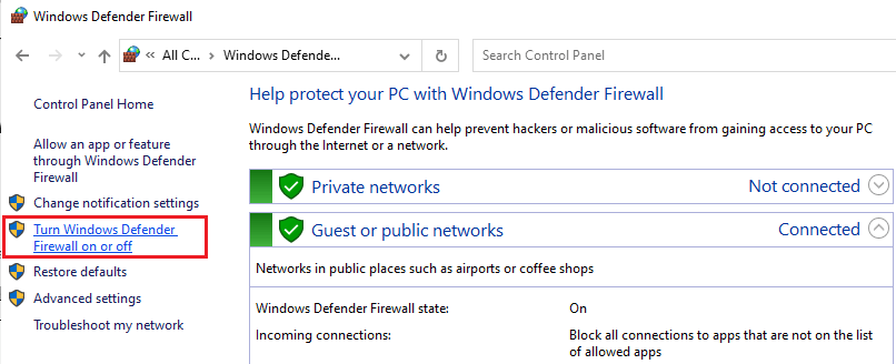 Turn Windows Defender on and off
