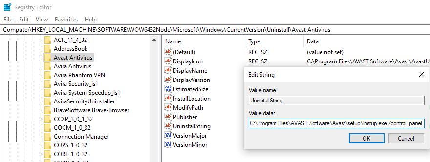 Uninstall programs in the registry
