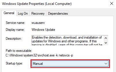 windows update properties - manual