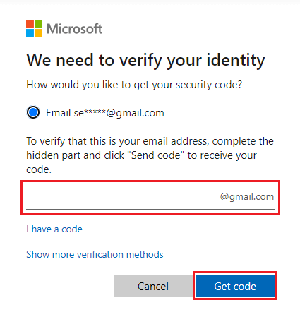 Verify your identity with the security code