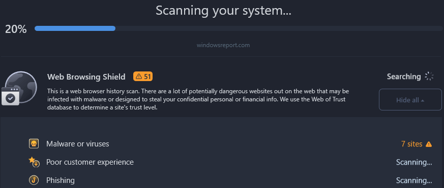 Scan for malware