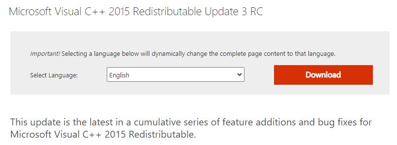 Microsoft Visual C++ 2015 Redistributable page