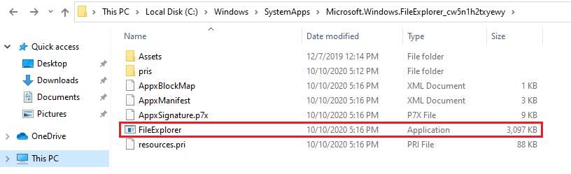 Windows File Explorer location
