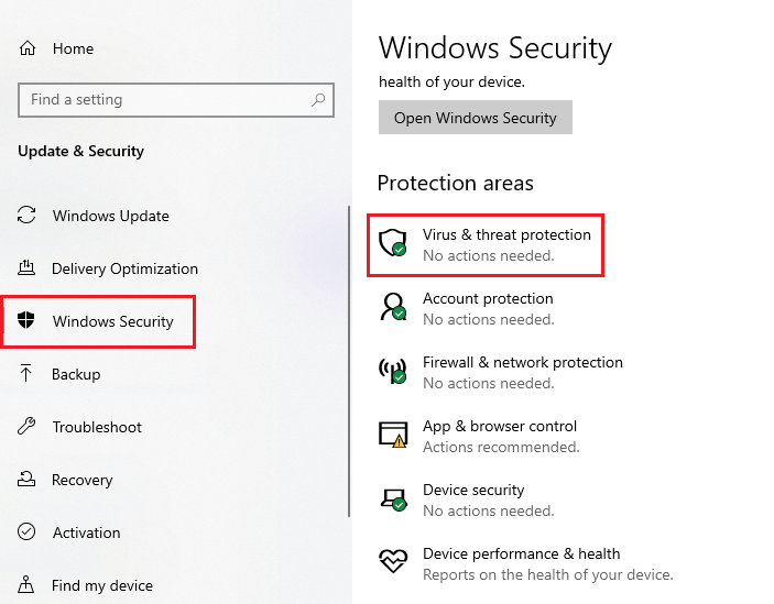 Scan for viruses and spyware in Windows Security menu