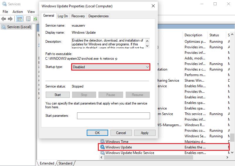 Windows Update Disabled