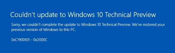 Windows update error 0xc1900101