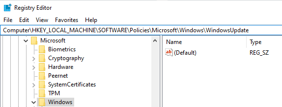 Windows Updates in Registry Editor