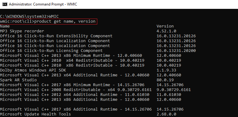 wmic product get name command - uninstall apps Windows 10